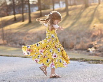 Girls maxi dress vintage floral fabric Spring/Summer dress gathered skirt with ruffle hem KALMcollection