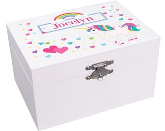 Unicorn Jewelry Box Personalized Girls Musical Ballerina Boxes Custom Unicorns Rainbows Hearts Gift