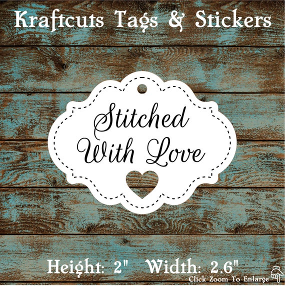 Favor Tags Stitched With Love with Heart Cut Out #678 FREE SHIPPING!