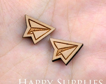 4pcs (SWC64) DIY Laser Cut Wooden Paper Airplane Charms