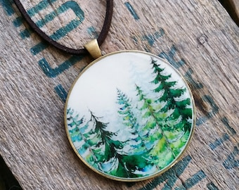Lost in the Forest Resin Pendant and Necklace