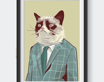 Cat internet meme high quality poster business grumpy cat pop art with suit