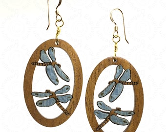 Blue Dragonfly Wood Inlay Earrings on 14K Gold Filled Wires