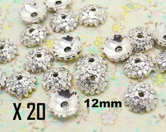 20 x Cup flower 12mm silver plated Cap