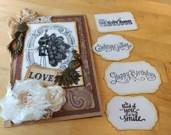 Steampunk Birthday Card / Victorian Peacock Dress Form Card / Steampunk Love card / Interchangeable Sentiments