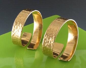 Hammered Brass Napkin Rings, Handmade - One Pair