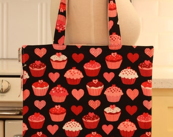 Book Bag Tote Purse - Cupcakes on Black