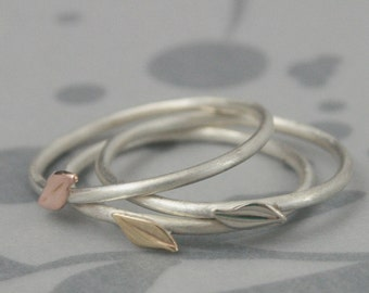 Leaf Ring~Signs of Spring~Leaf Stackers~Solid 14K Gold Leaves on a Sterling Silver Band~One Stacking Ring in the Gold Color of YOUR Choice