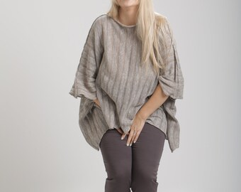 Natural linen knitted top
