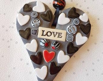 Black white heart, mosaic love heart, love black white red, ceramic hearts, Valentine, anniversary gift, love you heart art, love you gift