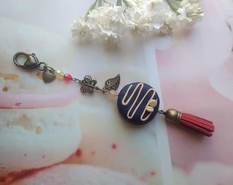 Bag charm / key chain blue macaron Fimo / bronze / gift idea