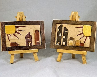 Wood Art / Modern Primitives / Reclaimed Wood  /  Wood Pictures / Childs Room Decor / Miniature Wood Pictures / Dimentional Art
