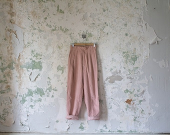 Vintage High Waisted Pants Pleated Pants - Pink Corduroy 1980s 80s Trousers Small