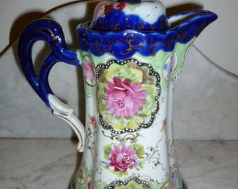 Antique stunning flow blue bone china chocolate cacao pot 1890