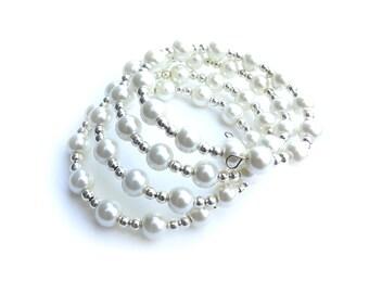 White Glass Pearl Memory Wire Bracelet