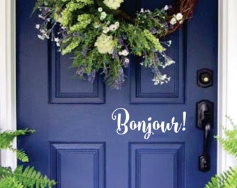 Bonjour Decal - Front Door Greeting - Wall Decal - Vinyl Lettering - casual loopey script style letters - French Canada Bonjour Decal French
