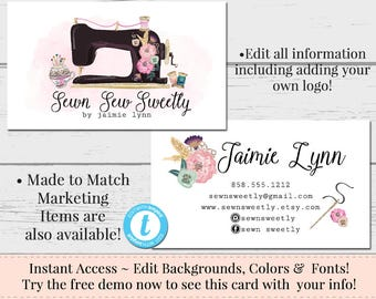 Sewing Business Card, Seamstress Business Card, Watercolor Card Template, DIY Business Card, Instant Download Card, DIY Floral Business Card