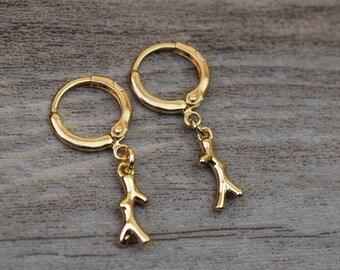 gold coral branch hoops endless hoop huggie dangle earring simple earrings everyday/gift for her