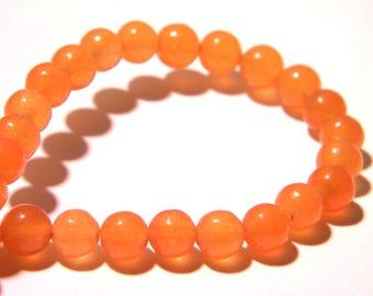 20 jade beads 6 mm - translucent - round bead - gem stone - orange - F204 3