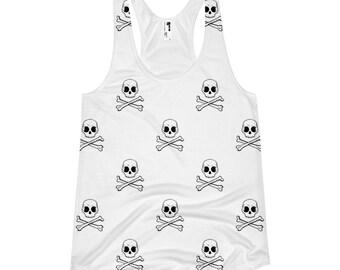 Skull racerback tank, Festival tank top, Summer tank top, White tank top, Boho tank top, Printed tank top, Burning man woman top