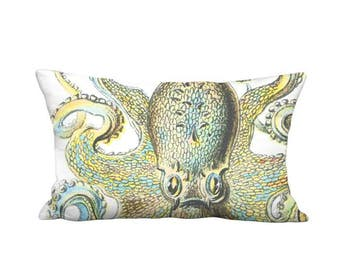 OUTDOOR Pillow Cover - Lumbar Pillow - Octopus Fun Yellow Blue - 12x20 12x22 14x20 14x26 16x20 16x24 16x26 Inch Indoor Outdoor Cushion Cover