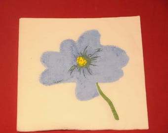 "paper flower ""blue"" theme towel"