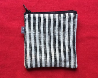 Square zippered credit card holder, striped linen zippered coin purse