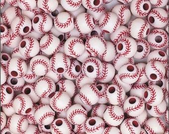 25 Acrylic Baseball Beads