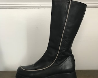 90s Black Platform Mid Calf Boots with White Pinstripes