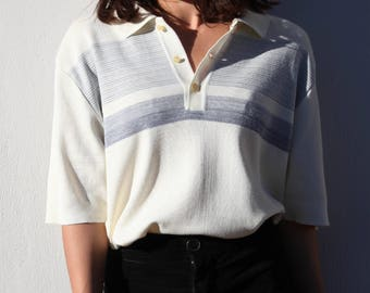 Vintage ivory with blue stripes short sleeved knit blouse,top,polo sweater.one size