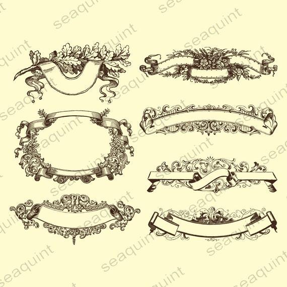 Ornate Wedding Banner Clipart Vintage Frame PNG Vector EPS AI Design Elements Instant Download From Seaquintdesign On Etsy