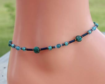 Anklet, Blue Beaded Ankle Bracelet