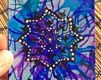 Mandala, art card, ACEO, Blue star, purple, blue, original Art, Tiny Painting, Alcohol Ink, Mixed Media, collector card,