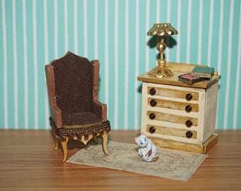 Dollhouse Chair, Chest of Drawers, carpet and cat, scale 1/48