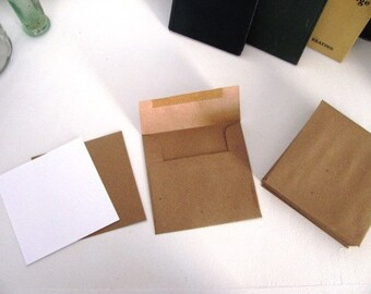 SET OF 25 -SQUARE kraft paper flat card invitation set- includes envelope and blank flat card