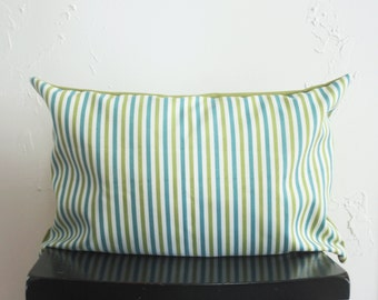 Turquoise Striped Pillow Covers, Lime Green Lumbar Pillow 14x20, Indoor Outdoor Cushions