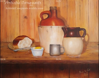 ORIGINAL Oil Painting - Still Life Wiskey Jug Art / Bread Painting / Food and Drink Art / Rustic Home Decor / Gift for Dad, Grandpa - 16x20""