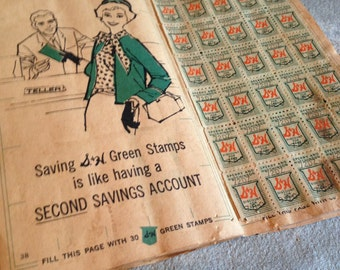 S & H Stamp Book Green Shield Sperry Hutchinson Saving Vintage SH Stamps