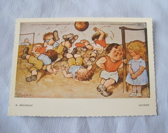 Vintage Swedish Robert Hogfeldt Postcard Soccer Football Offside
