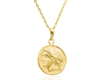 Gold necklace -14k gold filled, Roman coin necklace 0.74 inch gold coin necklace, coin jewelry, delicate necklace,  medallion necklace