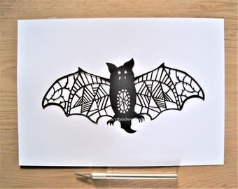 Halloween Bat - Papercutting Template, Commercial Use