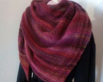 hand knit shawl,wrap, scarf in deep red with ocre/green/purple accents, gift for her *Ready to Ship*