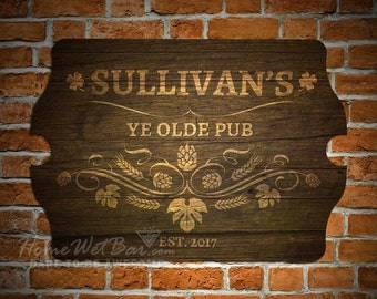 Merveilleux Ye Olde Pub Personalized Bar Sign   Old Fashioned Pub Sign In Rich Brown,  Home