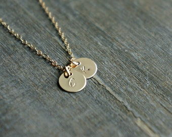 Two Gold Disc Necklace with Initials / 2 Small (7mm) Personalized Pendants on a Gold Filled Chain - choose your uppercase letters