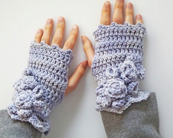 Elegant Rose Arm Warmers, hand warmers, light blue mauve, arm warmers, READY to SHIP, gift for her