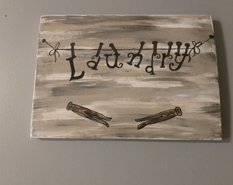 Clothesline Laundry Room Wood Sign , Clothespins, Gray, Brown, White, Hand Painted, Vintage Look