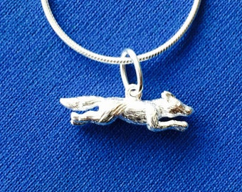 Fox pendant and snake chain sterling silver