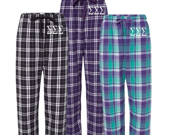 Alpha Xi Delta Flannel Pants, A Xi D Loungewear, Sorority Greek Apparel, Sorority Clothing, Sorority Letters, Officially Licensed Product