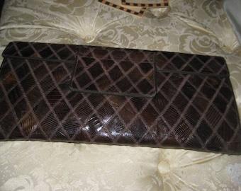 1940's Snake Skin Clutch/40's leather Clutch Bag/ Glamour 40's Clutch Purse