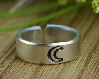 Crescent Moon Adjustable Ring- Hand Stamped Aluminum Crescent Moon Ring - Any Size 4 5 6 7 8 9 10 11 12 including half and quarter sizes